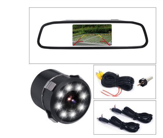 الجديد 4.3 بوصة سيارة مرآة الرؤية الخلفية رصد موقف السيارات مقاطع فيديو + LED للرؤية الليلية احتياطية عكس كاميرا CCD سيارة كاميرا الرؤية الخلفية