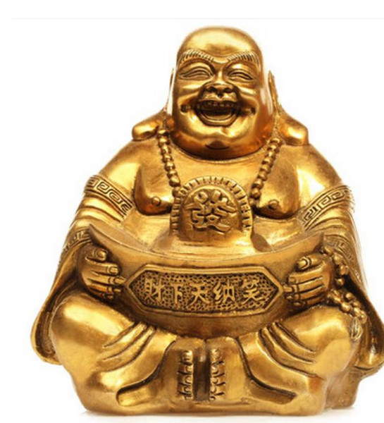New ++ Maitreya Zhaocai copper ornaments like big belly Laughing Buddha statues felicitous wish of making money Home Furnish