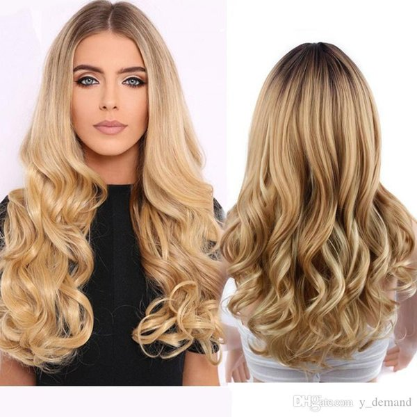 Fashion Celebrity Wig Long Afro Wavy Ombre Blonde Wigs African American Wigs Synthetic Full Wigs For Black Women Y demand