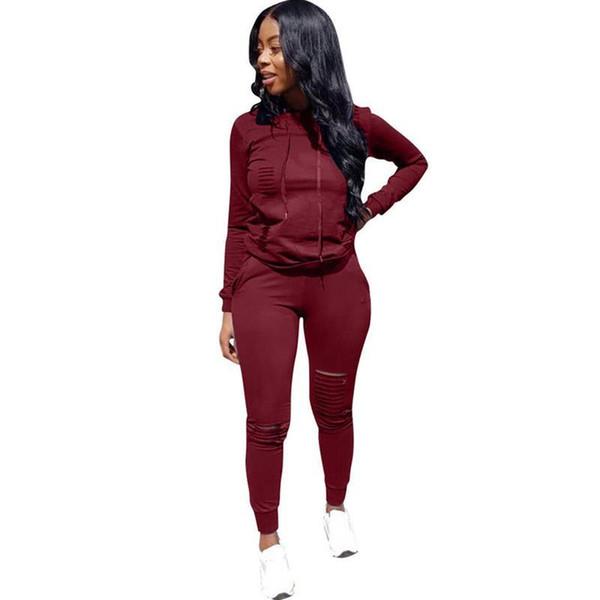 Kış Suit Kapşonlu Eşofman Kadın İki Adet Set Uzun Kollu Delik Üst + Pantolon Sonbahar İki Adet Kıyafetler chándal Mujer Ter Suits