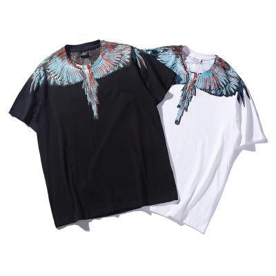 Camisetas para hombre de la marca Tide con alas de estilo clásico de primavera con estampado de manga corta en blanco y negro para hombres y mujeres