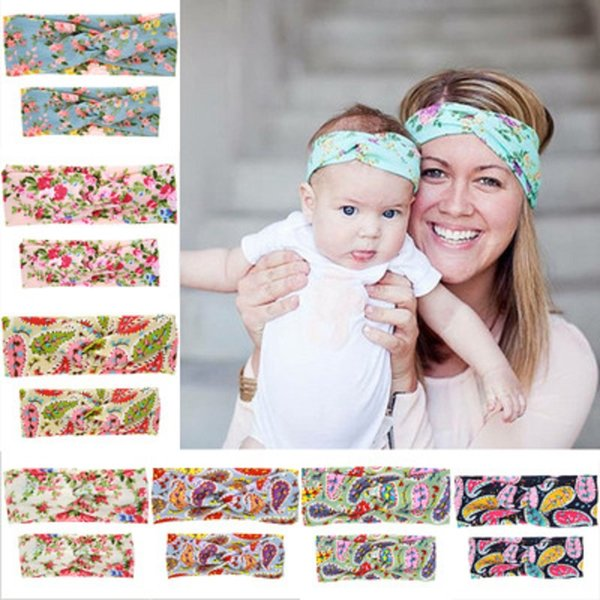 Family Matching Headband Suit Baby Headbands Floral Flowers Decoration Cross Tie Cloth Elasticity Cotton Hair Band 49