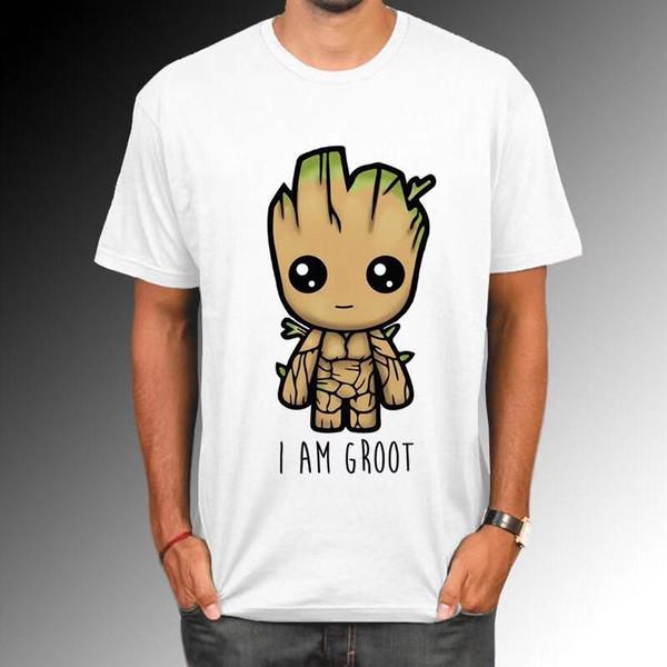 Guardians Of The Galaxy 2 Hombres Camiseta Anime Baby Pop Groot Verano Divertido Soy Groot Camiseta Hombre Cool Tops Tees Homme Tshir La633