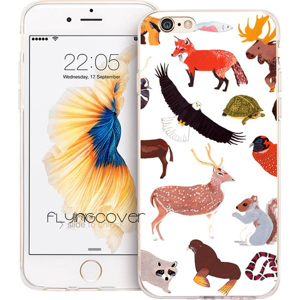 Coque America Animals Collage Phone Cases for iPhone XS Max XR 7 8 Plus 5S 5 SE 6 6S Plus 5C 4S 4 iPod Touch 6 TPU Silicone Cover.