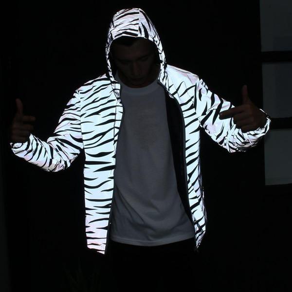 Homens Mulheres Jaqueta Reflexiva Blusão Impermeável Zebra Stripes Impressão Double Layers Jaqueta De Bolso Hip-hop Streetwear Com Capuz