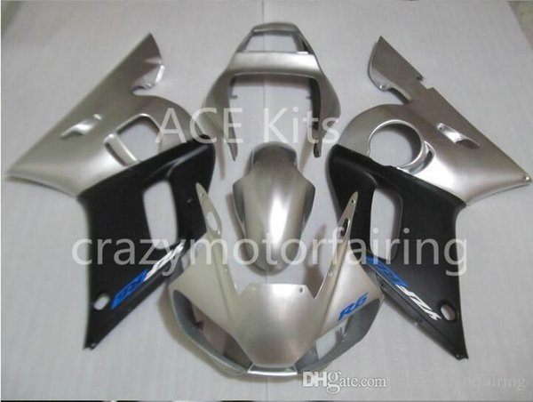 3 Free gifts Injection MOLD New ABS Fairing Kits 100% Fitment For YAMAHA YZF-R6 98-02 YZF600 1998 1999 2000 2001 2002 Silver Black v4
