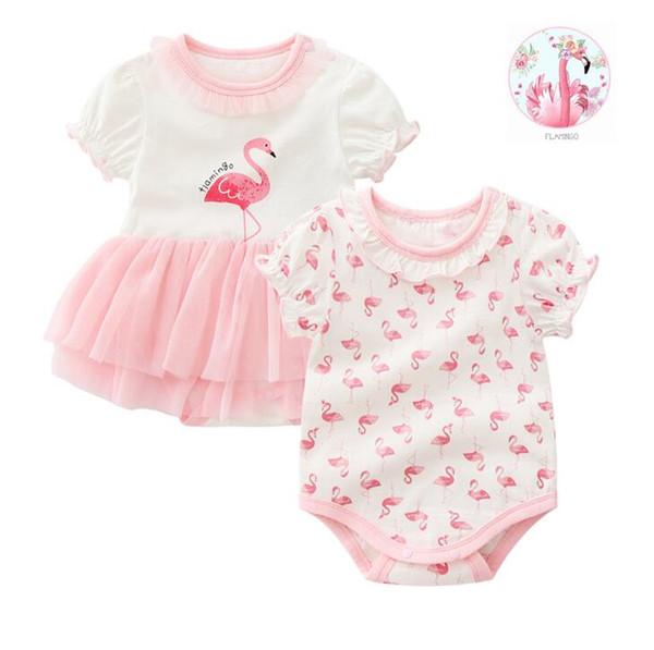 Новорожденный ребенок фламинго шаблон ползунки девушки комбинезон младенческой боди пачка кружева платье одежда наряд бесплатная доставка