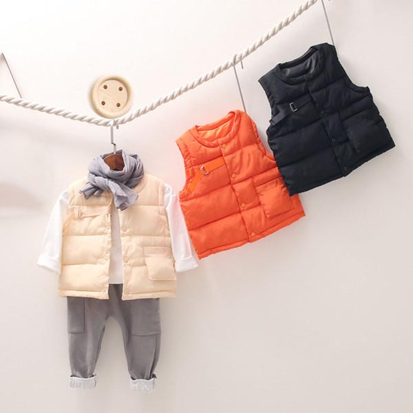 Garçons et Filles Occasionnels Manteaux Manteaux Infant Enfants Enfants Coton Gilet Vestes Bébé Solide Vêtements Chauds Automne Hiver Enfants Vêtements