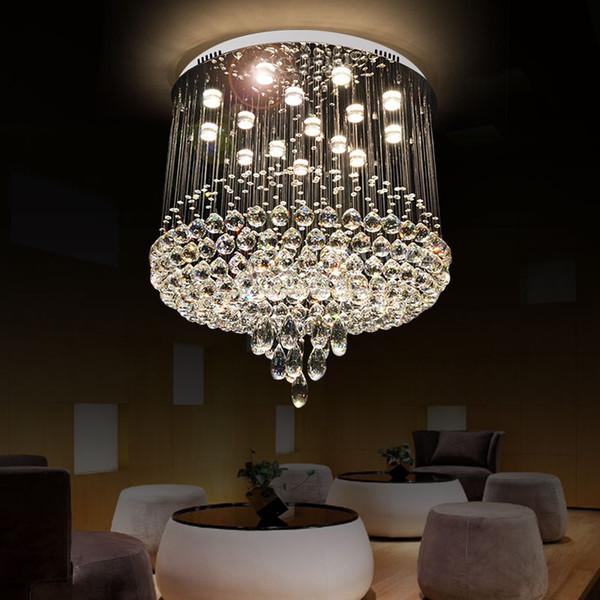 Tubor Modern K9 Kristal led Tavan Işıkları Yatak Odası Oturma Odası otel salonu için Kristal Yuvarlak kristal avize Lamba Asmak için ışık fikstür