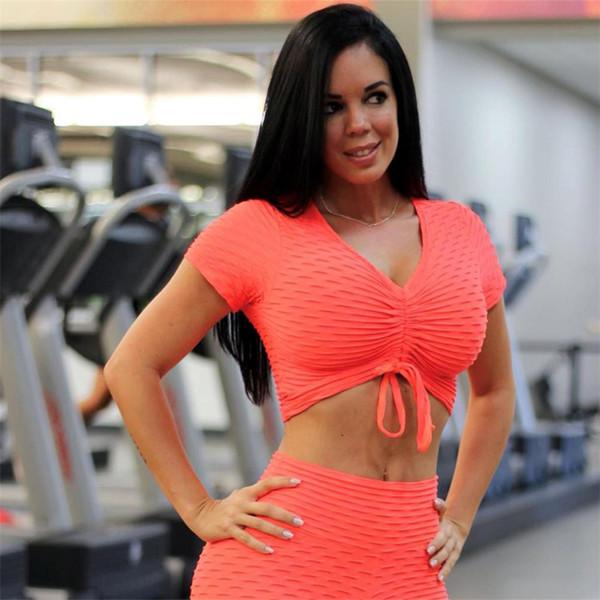 Ariel Sarah Yoga Set 2pcs Gym Clothing juul Solid Honeycomb Jacquard Short Sport Set Femme Fitness/ Running Clothes for Women
