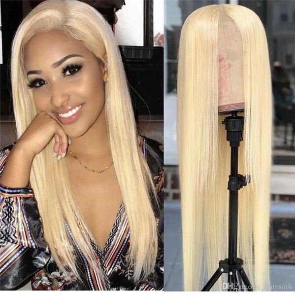 613 Farbe Blonde Lace Front Perücken Glatt Echthaar Perücken mit Babyhaar Pre Zupf Peruanische Remy Haar Lace Frontal Perücke