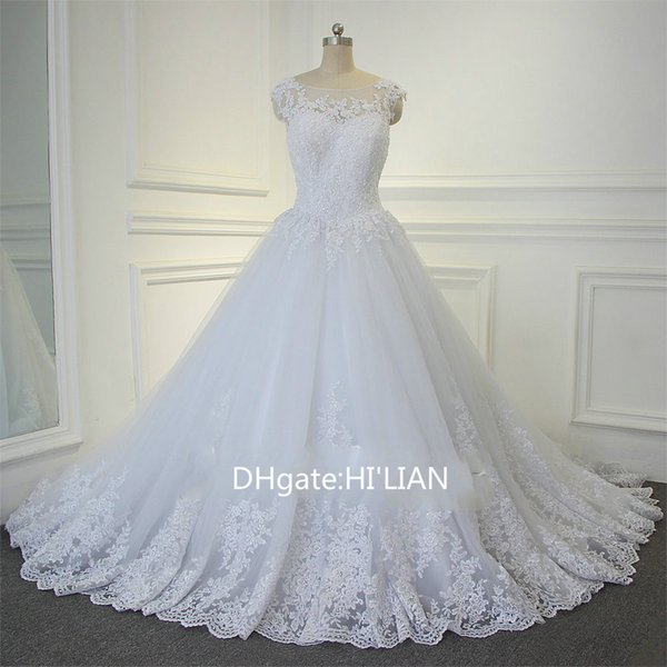 White Ivory Lace Applique Vestido De Noiva See Through Back Cap Sleeve Train Wedding Dresses Bridal Gown Formal Occasion Custom Dress