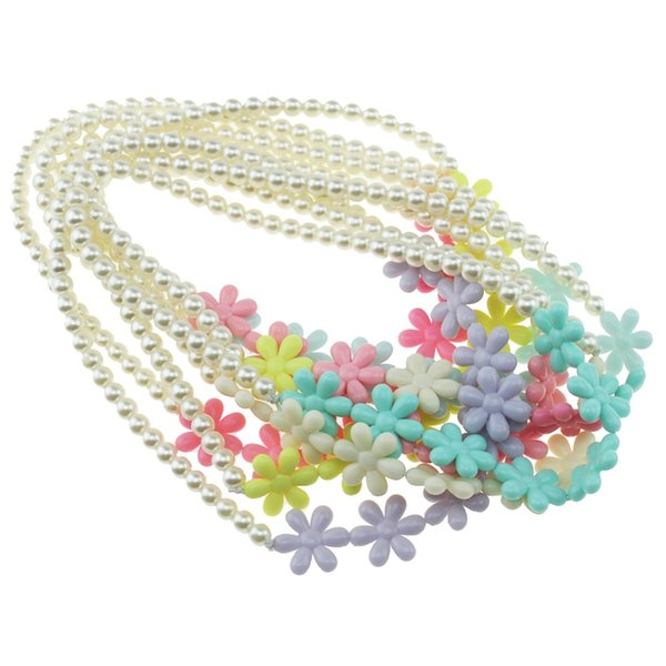 Pearl Necklace Candy Color Necklace Flower Beaded Children Cosplay Accessory Pink Girl Party Multicolor Jewelry