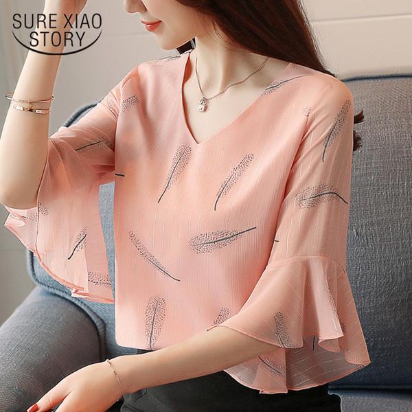 2019 estate moda donna abbigliamento farfalla maniche camicette dolce maniche corte in chiffon stampa donna top rosa abbigliamento 0221 40 J190615