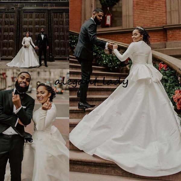 Старинные африканские мусульманские свадебные платья с длинным рукавом атласные свадебные платья с баской 2019 простой элегантный белый vestido де novia пользовательские дешевые