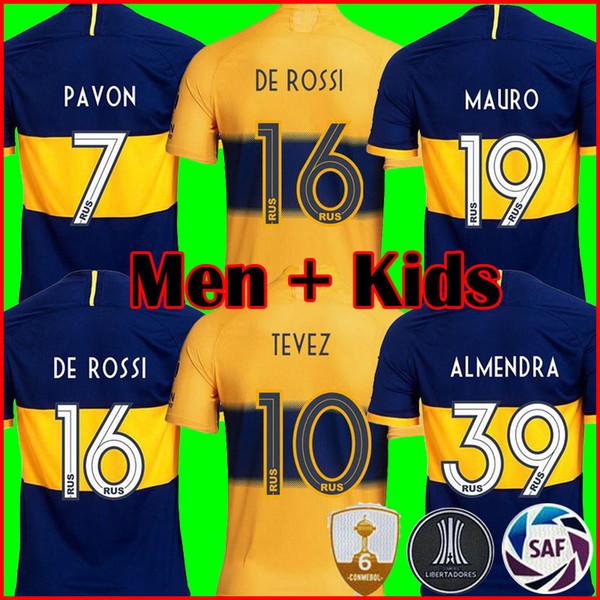 2019 Boca Juniors Camisola De Futebol Para Casa 19 20 Boca GAGO CARLITOS PEREZ DE ROSSI TEVEZ PAVON JRS camisa de futebol dos esportes MEN KIDS KIT SETS