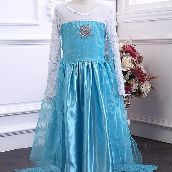 2018 New Style Exquisite Frozen Dress Girls Costumes for Kids Snow Queen Cosplay Princess Party Halloween Long Sleeve Dresses