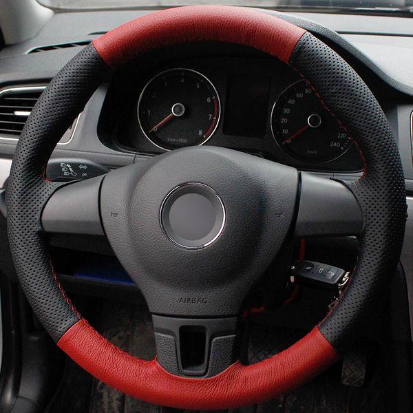 Coprivolante per auto in pelle naturale rossa rossa naturale per Volkswagen VW Tiguan Lavida Passat B7 Jetta Mk6