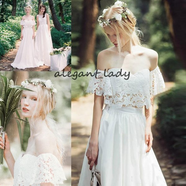 Vintage Crochet Lace Bohemian Wedding Dresses 2019 Off Shoulder Ruffles Sleeve Full length Country Cotton Beach Hippie Bridal Gowns Cheap
