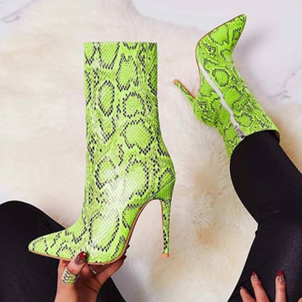 2019 Women 11.5cm High Heels Boots Fetish Stripper Green Serpentine Stiletto Ankle Boots Lay Autumn Snake Print Quality Shoes