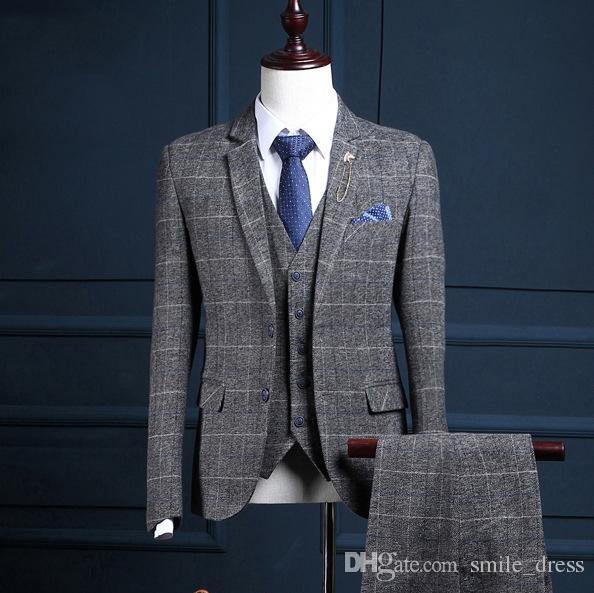 3 Pieces Men Suits Groom Wear Formal Occasion Men Wedding Suits Best Man Tuxedos Bridegroom Men (Jacket+Vest+Pants) SG013