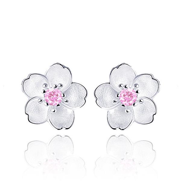 Carino argento sterling 925 Cherry set fiori rosa fiori CZ orecchini per le donne ragazze Bambini Gioielli Orecchini Aros Aretes