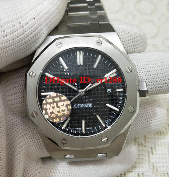 Reloj de calidad superior N8 Factory 41mm Royal offshore oak 15400ST.OO.1220ST.01 15400 esfera negra Movimiento automático Relojes para hombres