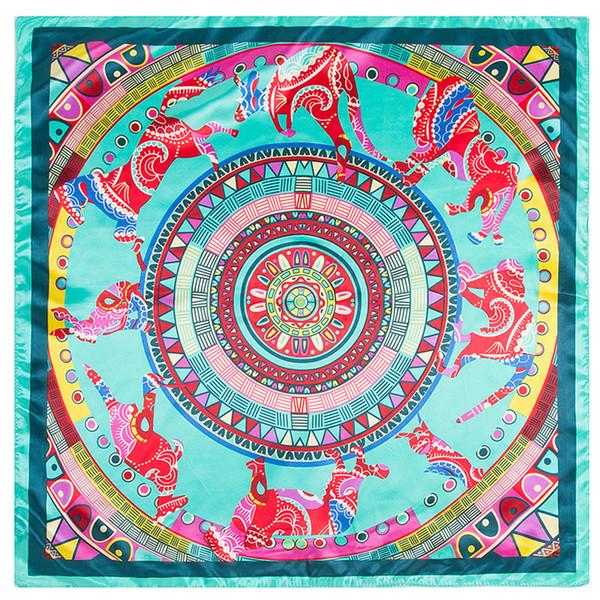 Ethnic wind Women Square Scarf Colourful Bohemia Printed Imitated Silk Scarves Stewardess Hostess Lady 60x60cm decor Neckerchief