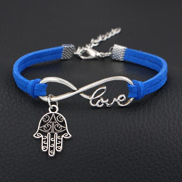 Nuovo bracciale in pelle di velluto blu scuro fascino 2018 Metallo argento Infinito Amore Mano Palm pendente Ciondolo Bangles Donna Uomo Femme Wristband Jewelry