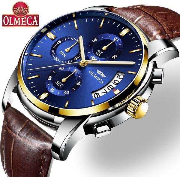 Reloj Olmeca Reloj de lujo para hombre Relojes a prueba de agua Reloj cronógrafo Reloj de pulsera de cuarzo militar Relogio masculino Banda de cuero Y19051703