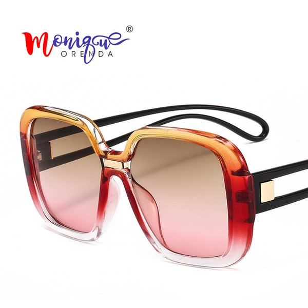 2019 Fashion Oversized Sunglasses Women Luxury Square Gradient Frame Hollow Legs Sun Glasses Gradual Color Female Eyewear UV400