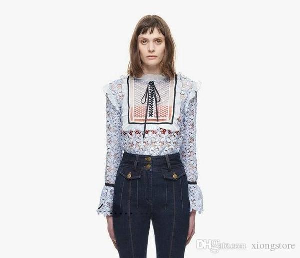 Retrato novo de alta qualidade Auto Lace Crochet Runway Tops Mulheres blusas 2019 Moda manga comprida Branco Ruffles shirt Blusas Camisetas azuis