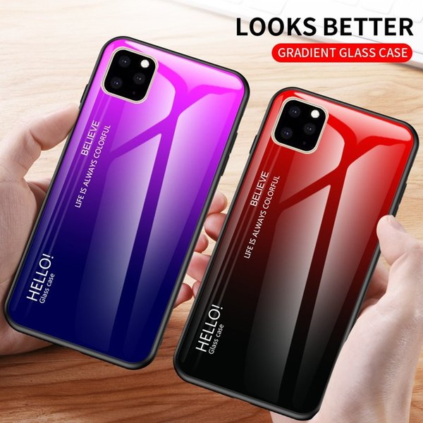 Brand Phone Case For Apple iPhone 11 Pro Case Tempered Glass Luxury Gradient Soft Silicone Edge Cover For iPhone 11 Pro Max Case
