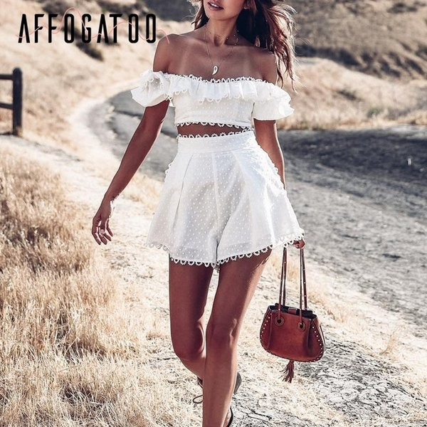 Affogatoo Sexy Elegant Two-piece Ruffle Rompers Womens Off Shoulder Dot Playsuit Jumpsuit High Waist Summer Jumpsuit Short 2019 Y19071801