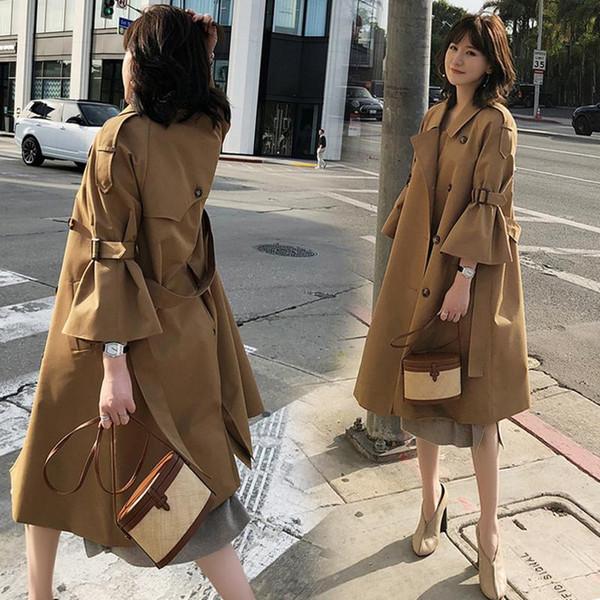 Streetwear Fashion Beige Color Luxury Damen Lange Damen Trench Windjacke Abrigo Mujer Mode Femme Printemps 2019