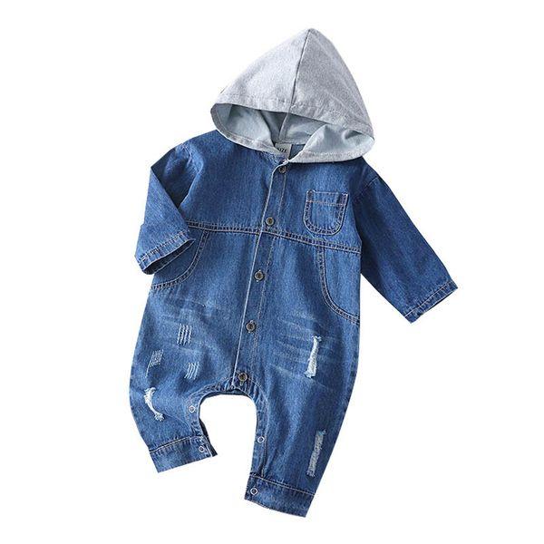 Nouveau-né bébé garçon vêtements denim trou bébé barboteuse jeans à manches longues infantile Jumpsuit garçons One Piece Vêtements nouveau-né barboteuse à capuche A4338