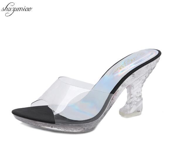 d76c396c39e Women Slides 2018 Slippers Platform Sandals Summer Bling Beach Slides Flip  Flops Comfortable Strange Style High Heel Shoes