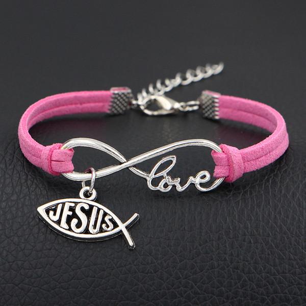 Menor Fábrica De Prata Cor Infinito Amor Jesus Cristão Cruz Peixe Pingente Charm Bracelet Boa Qualidade Hot Pink Leather Camurça Corda Jóias