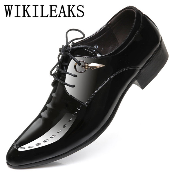 bc29d083b36 Mens Pointed Toe Dress Shoes Luxury Brand Designer Italian Patent Leather  Shoes Man Prom Dress Shoes 2019 Crocodile Skin Suede Shoes Pumps Shoes From  ...