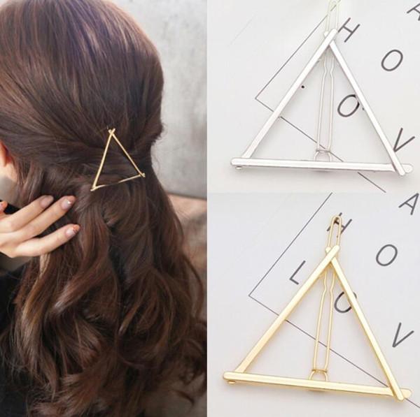 12 Unids Moda horquillas Ronda triángulo Luna pernos de pelo Joyas de metal para mujeres Lady Barrette Clip Accesorios para el cabello niñas titular