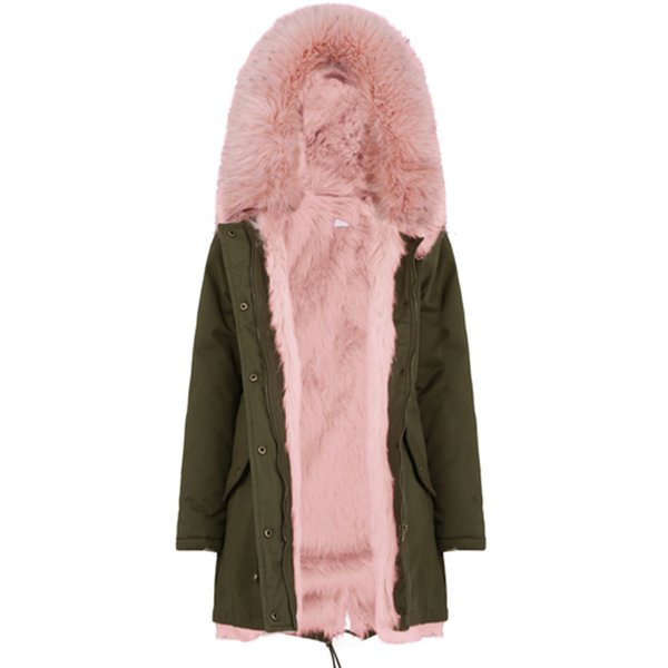 RR Artificial Faux Fur Trim Jackets Women Fashion Faux Fur Liner Parka Women Casual Hooded Coats Female GF