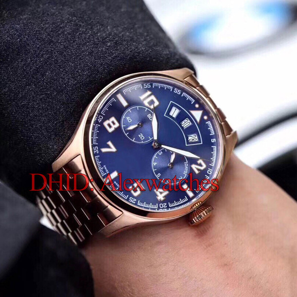 44mm 316L Stainless Steel Case Luxury Mens Watches Mechanical Automatic Watch Black Blue Dial Cowhide Brown Leather Strap montre de luxe