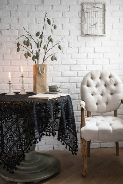 Ins Hot Table Cloth with Cotton Lace Material Chic Fashion Table Cloths for Home Decor Free Shipping Black White Available