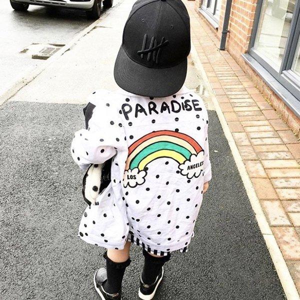 pudcoco 3-7Y Serin Çocuk Kız Erkek ceketler Palto Moda Sokak stili Raibow Polka Dot Pamuk En Kabanlar Ceket Ceket Elbise