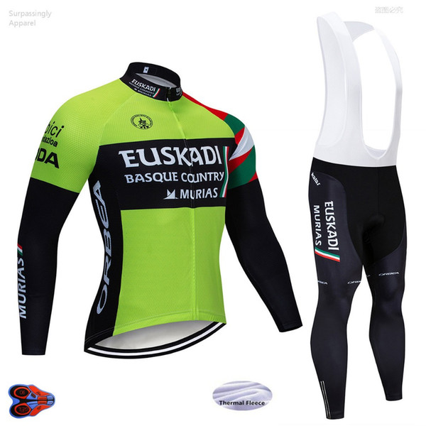 2019 EUSKADI Long Sleeve Cycling Team Jersey 9D Gel Pad Bike Pants Suit MTB Ropa Ciclismo Winter Bicycling Maillot Culotte Wear