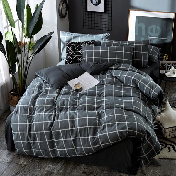 Juego de ropa de cama Twill impreso enrejado a rayas 3 unids funda nórdica Algodón lavado Ropa de cama Juego de sábanas AB funda nórdica lateral Funda de almohada