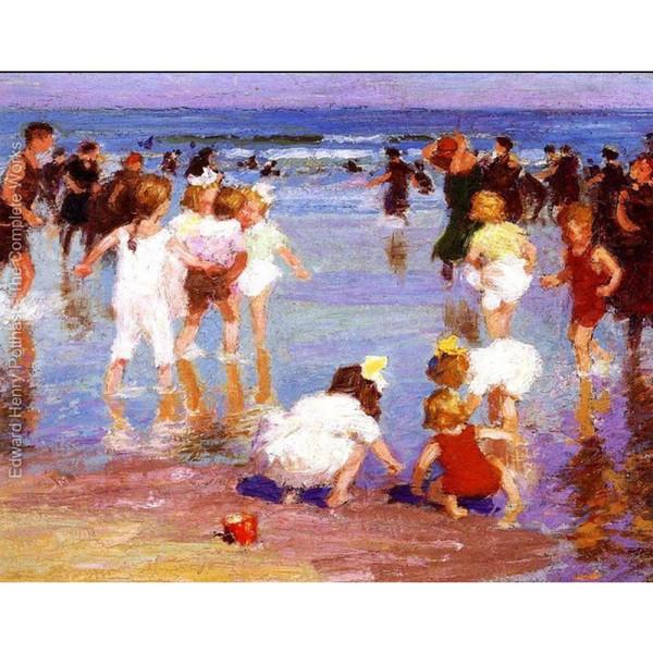 Dipinti ad olio dipinti a mano di Edward Henry Potthast in vendita Happy Days -20 arte moderna per l'arredo della parete