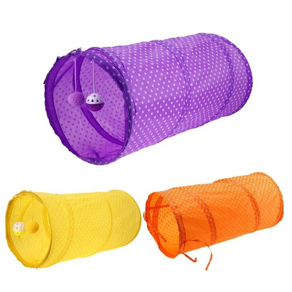 2 Holes Funny Pet Cat Tunnel Cat Play Tubes Balls Collapsible Crinkle Kitten Dog Toys Puppy Ferrets Rabbit Play Tunnel Tubes