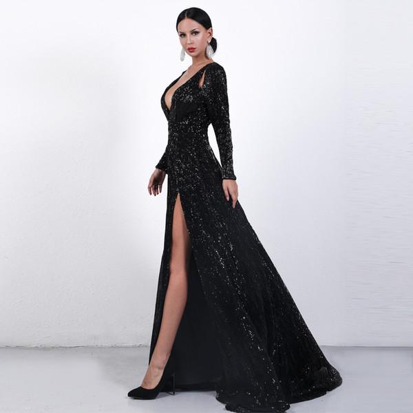 Compre Elegantes Vestidos Formales De Noche 2019 Lado Sexy Dividir Lentejuelas Profundas Con Cuello En V Una Línea De Vestido De Fiesta Vestidos Para