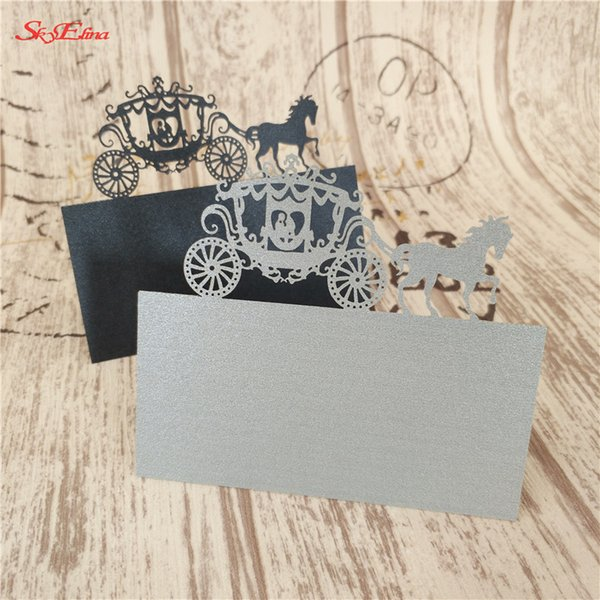 10Pcs/lot Carriage Shape Seat Cards Laser Cut Wedding Name Cards Place Name CardsWedding Invitations Party Supplies 6Z-SH868